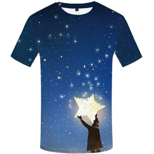 Galaxy Space T shirts Men Star Tshirt Printed Character Tshirt Anime Cartoon Tshirts Casual Abstract Shirt Print Short Sleeve