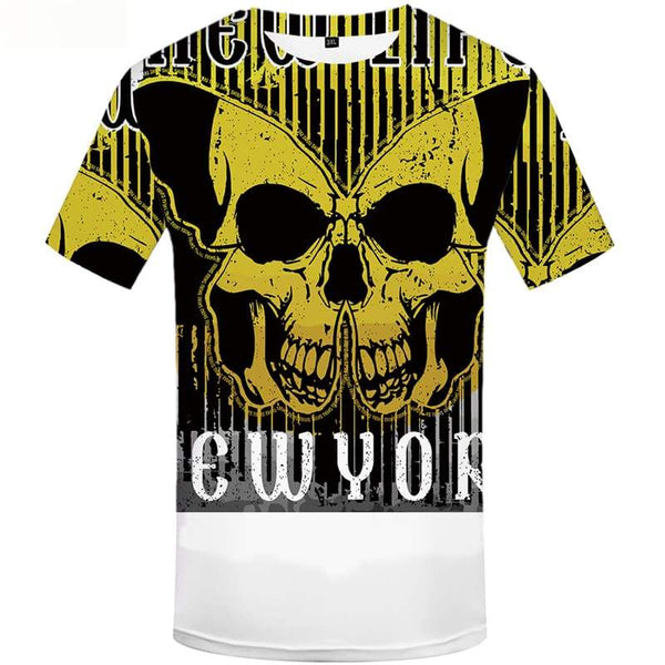 Skull T-shirt Men Yellow Tshirts Cool Gothic Shirt Print Punk Rock Tshirts Novelty Short Sleeve Punk Rock Mens New Slim O-Neck
