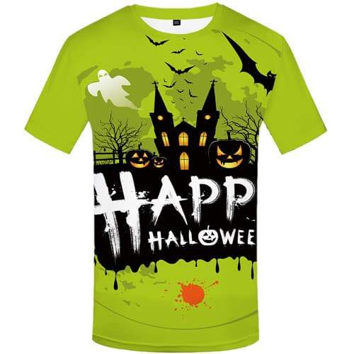 Halloween T-shirt Men Pumpkin T-shirts Graphic Cosplay Shirt Print Party Tshirts Cool Happy Tshirt Printed Short Sleeve Hip hop - KYKU