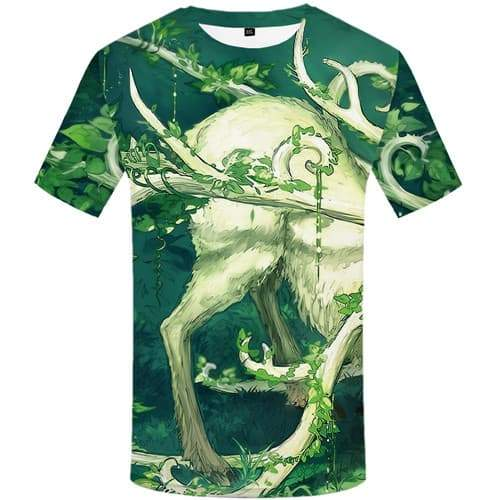 Deer T-shirt Men Animal T shirts Funny Forest Tshirts Cool Leaf Tshirt Anime Harajuku Tshirts Novelty Short Sleeve Hip hop - KYKU