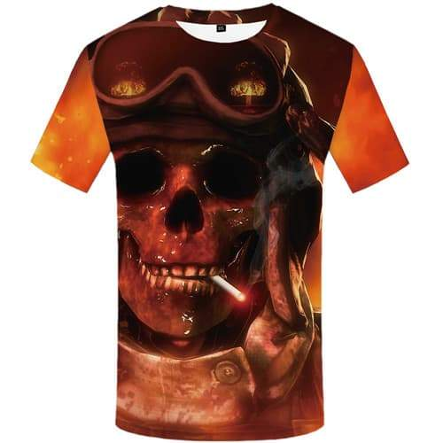 Skull T shirts Men Military T-shirts Graphic Flame Shirt Print Smoke T shirts Funny Gothic Tshirts Casual Short Sleeve