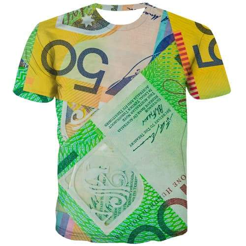 Australian Dollar T-shirt Men Money Tshirt Anime Graffiti Tshirts Cool Colorful T shirts Funny Harajuku T-shirts 3d Short Sleeve - KYKU