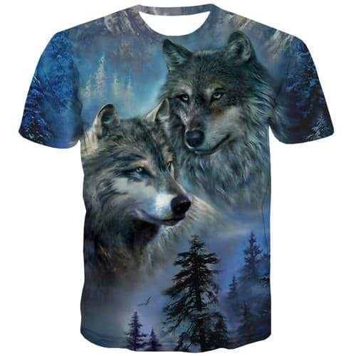 Wolf T shirts Men Forest Tshirt Anime Animal Tshirts Cool Mountain Tshirts Casual Abstract Tshirts Novelty Short Sleeve - KYKU