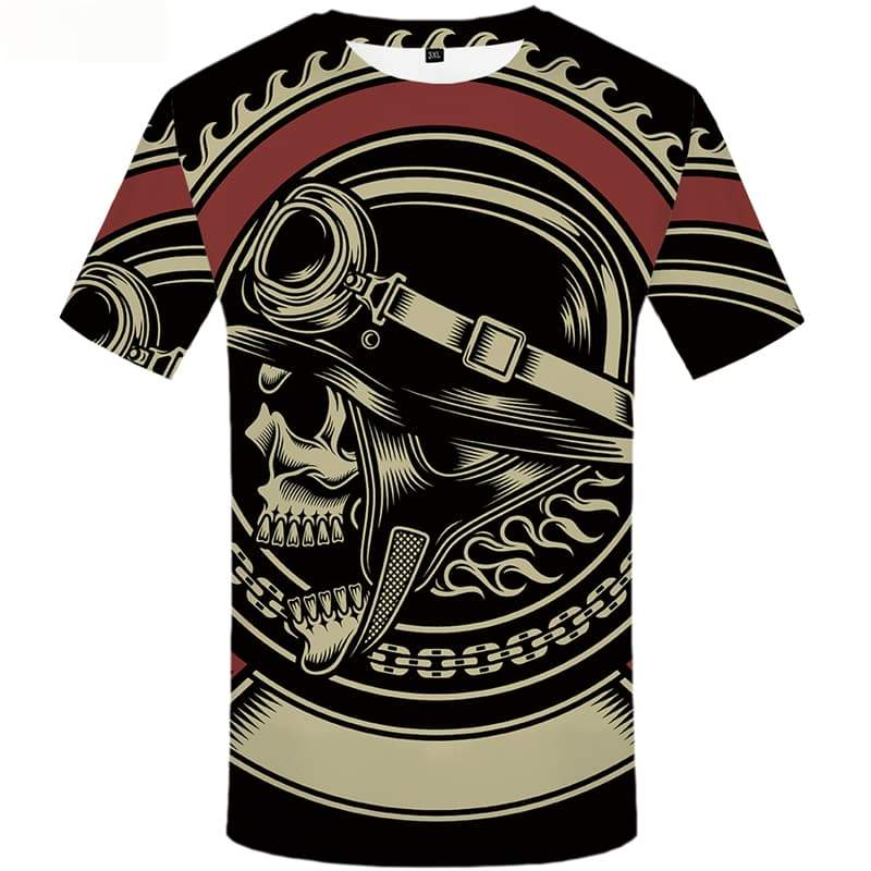 Skull T shirts Men Black T-shirts 3d Gothic Tshirts Casual Military Shirt Print Short Sleeve T shirts Men/women Tops Male O-Neck