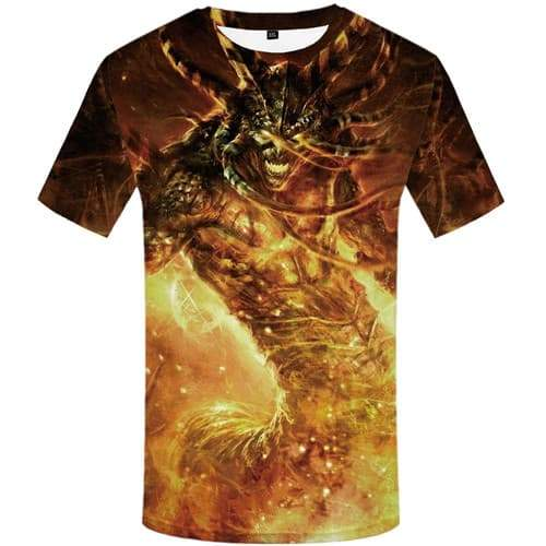 Flame T-shirt Men Skull Tshirts Casual Animal Tshirts Novelty Game Tshirt Printed War Shirt Print Short Sleeve Fashion Mens Tops - KYKU