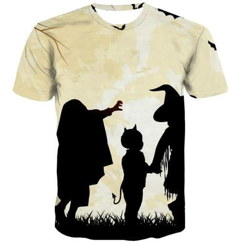 Halloween T-shirt Men Witch T-shirts Graphic Cartoon Tshirts Casual Moon Shirt Print Harajuku Tshirt Printed Short Sleeve summer - KYKU
