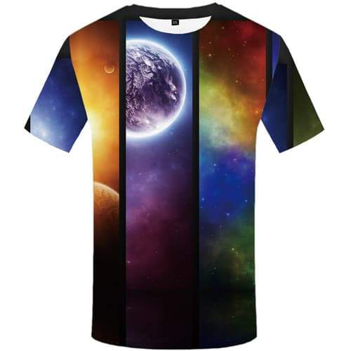 Colorful T shirts Men Galaxy Space T-shirts 3d Moon Tshirts Cool Nebula T-shirts Graphic Gothic Tshirts Novelty Short Sleeve - KYKU