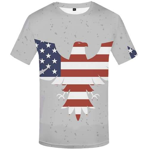 Eagle T shirts Men American Flag Tshirt Anime Animal Shirt Print Gray Tshirts Cool Usa Tshirt Printed Short Sleeve Hip hop - KYKU