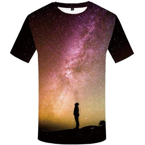 Galaxy Space T shirts Men Nebula T shirts Funny Mountain T-shirts Graphic Character Tshirts Cool Harajuku Tshirts Casual - KYKU