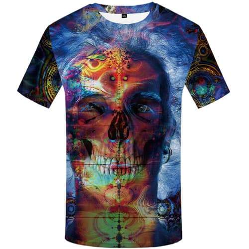 Skull T-shirt Men Graffiti T-shirts Graphic Art T shirts Funny Colorful Tshirts Casual Cosplay Shirt Print Short Sleeve Hip hop - KYKU
