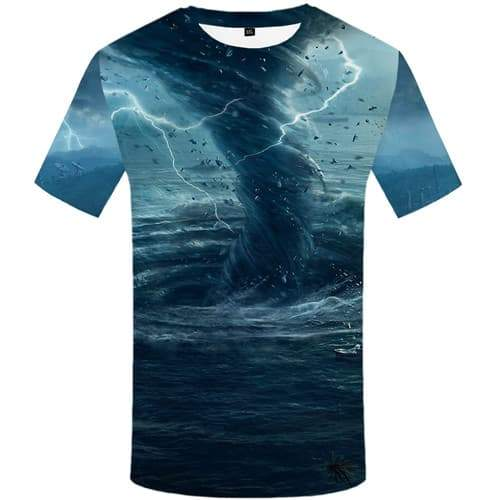Coconut Tree T-shirt Men Ocean T shirts Funny Lightning T-shirts Graphic Vortex Tshirt Printed Mountain T-shirts 3d Short Sleeve - KYKU
