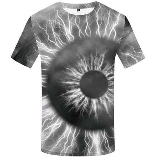 Eye T shirts Men Lightning T-shirts Graphic Psychedelic Tshirts Cool Gray T shirts Funny Galaxy Space Tshirt Anime Short Sleeve - KYKU