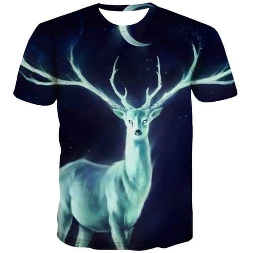 Elk T shirts Men Deer Tshirts Cool Animal Tshirt Anime Christmas T-shirts 3d Harajuku T shirts Funny Short Sleeve Full Print - KYKU