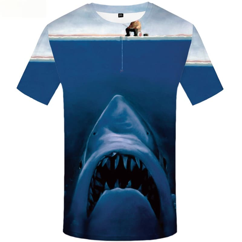 Shark T shirts Men Animal T-shirts Graphic Character Tshirt Anime Ocean Tshirts Casual Short Sleeve summer Men/women Tops Style