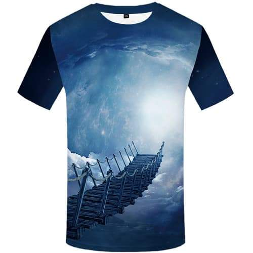 Galaxy Space T shirts Men Nebula Tshirt Printed Art T-shirts Graphic Abstract T shirts Funny Lightning Tshirts Novelty - KYKU