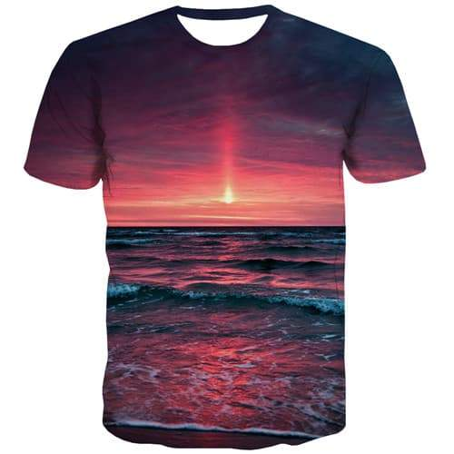 Wave T-shirt Men Flame Tshirts Casual Ocean Tshirts Novelty Harajuku T shirts Funny Gothic Tshirts Cool Short Sleeve Fashion - KYKU