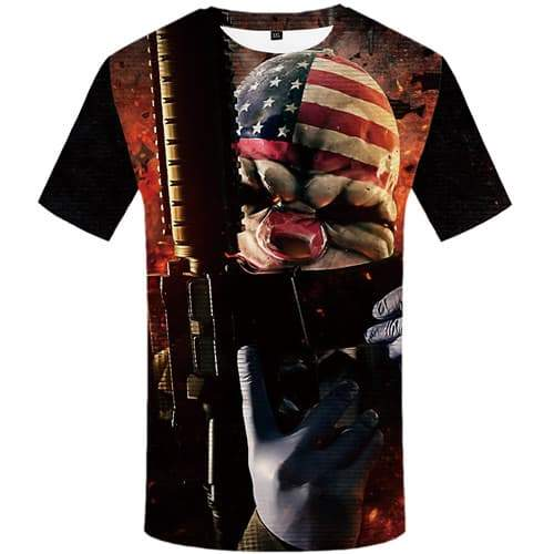 Gun T-shirt Men Clown T-shirts Graphic War Tshirts Cool Usa Shirt Print Flame Tshirts Novelty Short Sleeve Hip hop Men Tee Top