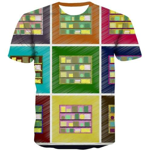 Graffiti T-shirt Men Geometric T-shirts 3d Square T shirts Funny Retro Shirt Print Abstract Tshirts Casual Short Sleeve Fashion - KYKU
