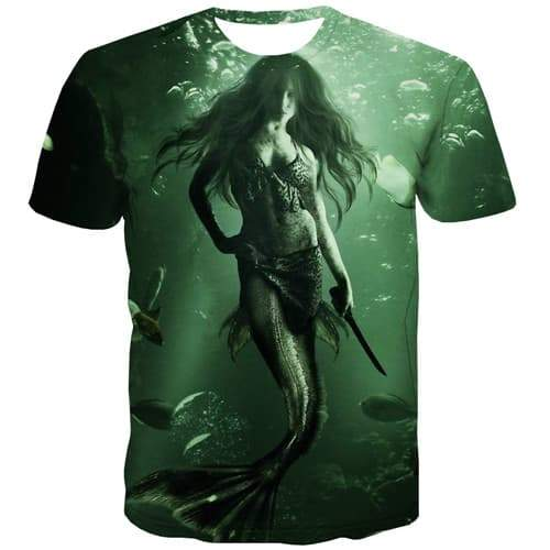 Anime T shirts Men Mermaid Tshirts Casual Animal T shirts Funny Sea Tshirt Printed Green Tshirts Cool Short Sleeve summer - KYKU