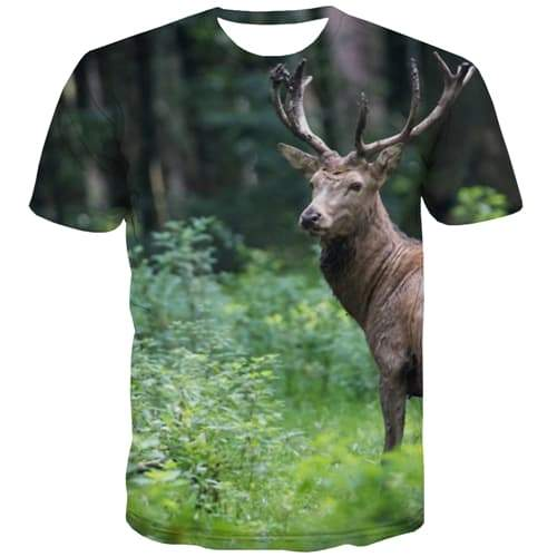 Deer T-shirt Men Animal Tshirt Printed Forest Tshirt Anime Street Shirt Print Leisure Tshirts Novelty Short Sleeve Fashion - KYKU