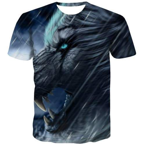 Wolf T shirts Men War T-shirts Graphic Animal Tshirts Casual Black T shirts Funny Gothic Tshirt Anime Short Sleeve Fashion - KYKU