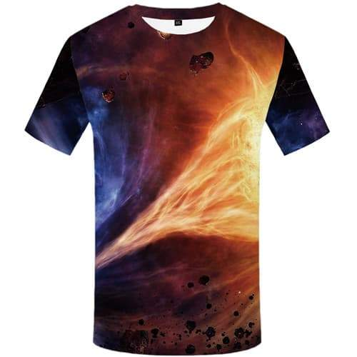Space Galaxy T-shirt Men Flame T-shirts Graphic Yinyang Tshirts Novelty Nebula Tshirt Anime Short Sleeve Punk Rock Men women - KYKU