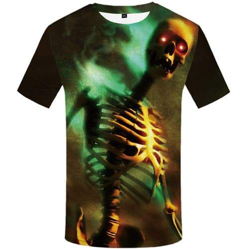 Skull T-shirt Men Skeleton Tshirt Anime Magic Tshirts Casual Punk Rock T-shirts 3d Short Sleeve summer Mens S-5XL Streetwear - KYKU