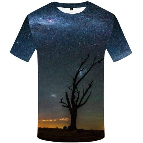 Galaxy Space T shirts Men Tree T-shirts 3d Nebula Tshirts Cool Harajuku T-shirts Graphic Short Sleeve T shirts Mens New Slim - KYKU
