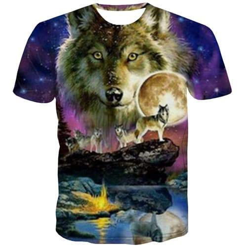Wolf T shirts Men Galaxy Tshirt Anime Animal Tshirts Cool Love Shirt Print Harajuku T-shirts 3d Short Sleeve Hip hop Unisex New - KYKU