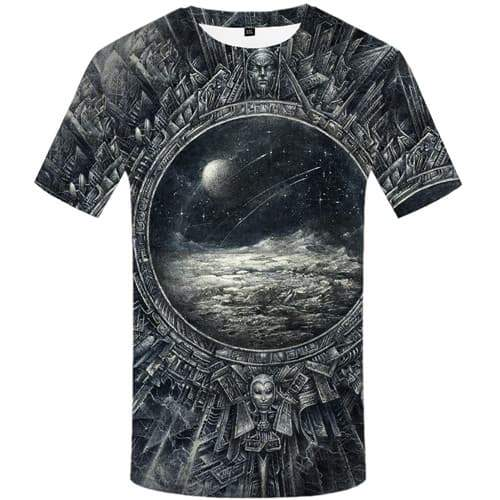 Galaxy Space T shirts Men Metal T shirts Funny Moon T-shirts Graphic War Tshirt Anime Gothic Tshirts Casual Short Sleeve - KYKU