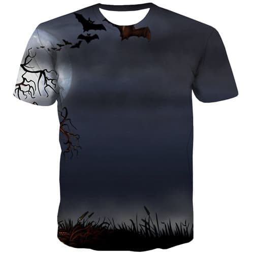 Halloween T-shirt Men Moon T-shirts 3d Tree Tshirt Anime Bat Shirt Print Gothic Tshirts Casual Short Sleeve summer Unisex Tops - KYKU