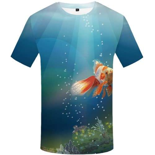 Fish T shirts Men Animal Shirt Print Fishinger Tshirts Cool Art Tshirt Anime Graffiti Tshirt Printed Short Sleeve Full Print - KYKU
