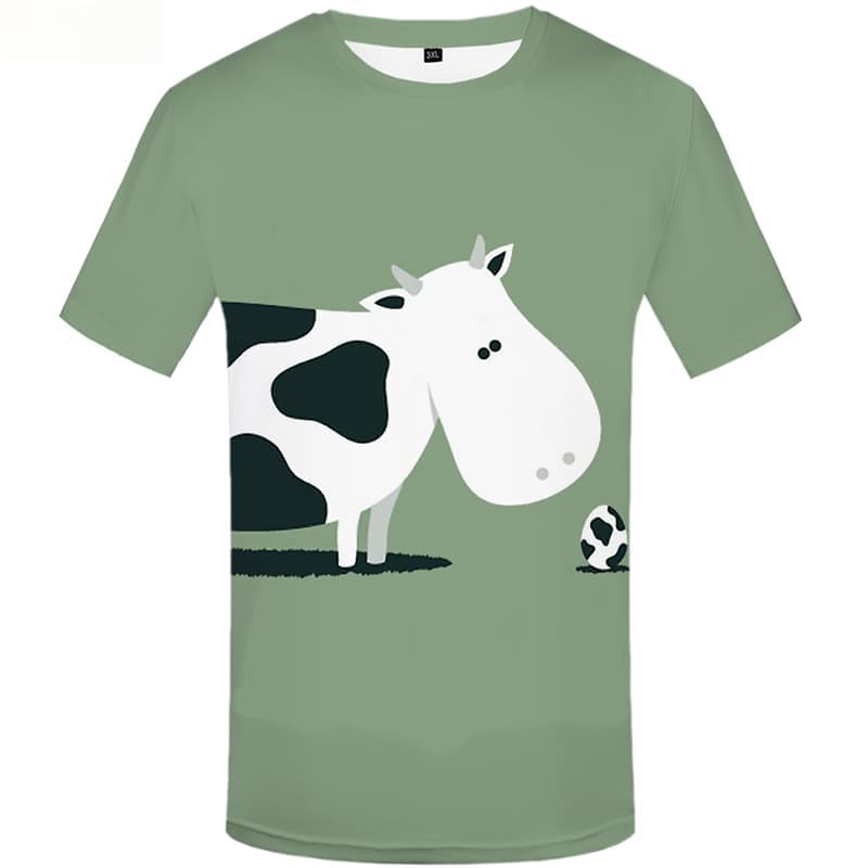 Cow T-shirt Men White T shirts Funny Grass Shirt Print Ball Tshirt Anime Animal T-shirts 3d Short Sleeve Hip hop Men S-5XL