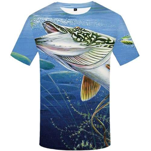 Fish T shirts Men Ocean Tshirts Casual Tracksuits Tshirts Novelty Animal Tshirt Printed Fishinger T-shirts Graphic Short Sleeve - KYKU