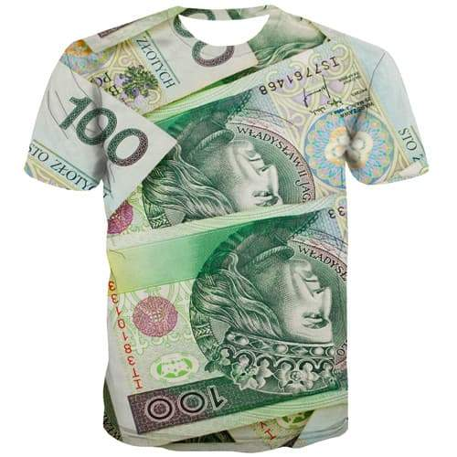 Money T shirts Men Poland T shirts Funny Refraction Tshirts Cool Harajuku Tshirts Novelty Colorful Tshirts Casual Short Sleeve - KYKU