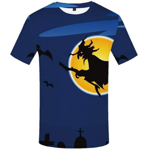 Halloween T-shirt Men Witch Tshirts Casual Bat Shirt Print Ghost Tshirt Printed Cosplay T shirts Funny Short Sleeve Fashion Mens