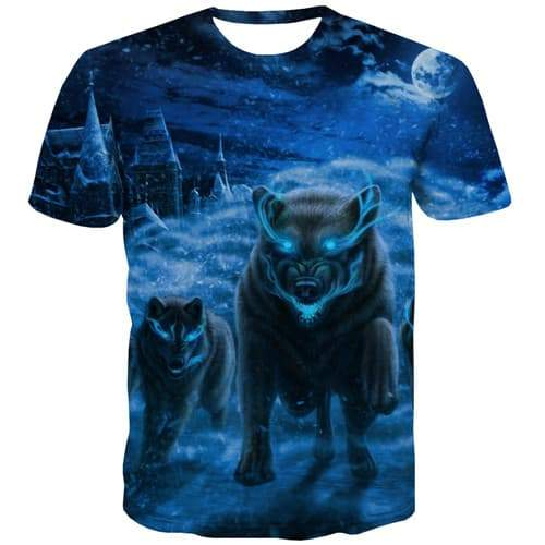 Wolf T shirts Men War T shirts Funny Animal T-shirts 3d Blue Flame T-shirts Graphic Forest Tshirt Anime Short Sleeve Fashion - KYKU