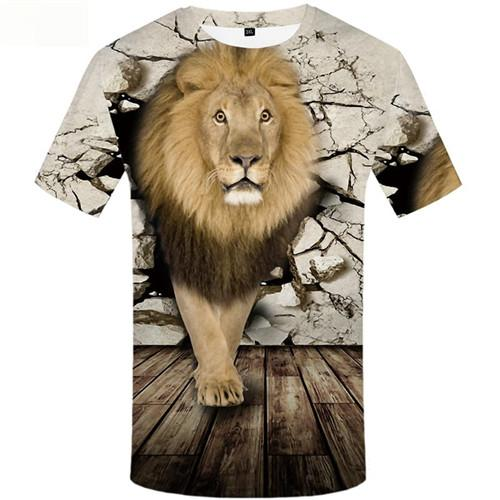 Lion T shirts Men Animal Tshirt Anime Vintage T shirts Funny Gothic Tshirts Cool Short Sleeve T shirts Mens Tee Style