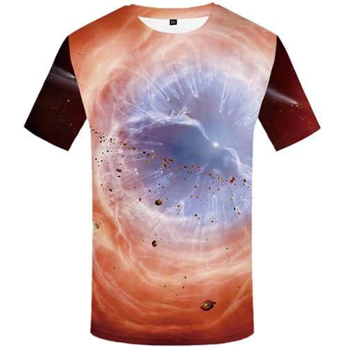 Galaxy T-shirt Men Space T-shirts Graphic War T-shirts 3d Flame Tshirt Printed Lightning Tshirts Novelty Short Sleeve Hip hop - KYKU