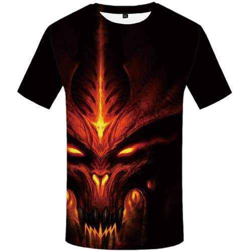 Skull T-shirt Men Black Shirt Print Gothic Tshirts Novelty Flame T-shirts Graphic Punk T-shirts 3d Short Sleeve T shirts Unisex - KYKU