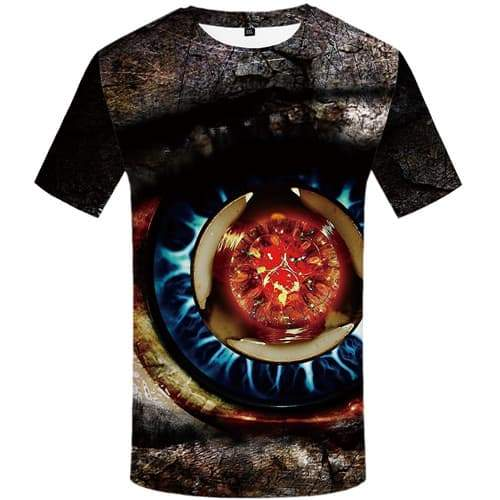 Eye T-shirt Men Vintage Tshirts Novelty Flame Tshirts Casual Rock T-shirts Graphic Gothic Shirt Print Short Sleeve Punk Rock