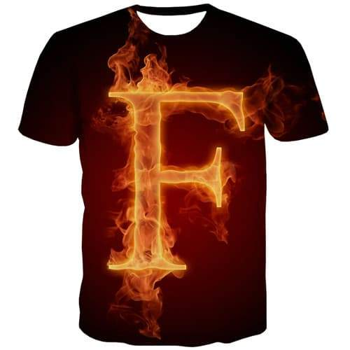 Flame T-shirt Men Letter Shirt Print Black T shirts Funny Fire Tshirts Cool Gothic Tshirt Anime Short Sleeve Fashion Men women - KYKU