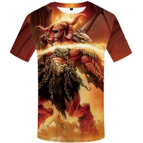 Flame T-shirt Men Animal Tshirt Printed Cattle Shirt Print War Tshirt Anime Cartoon Tshirts Cool Short Sleeve Fashion Men/women - KYKU