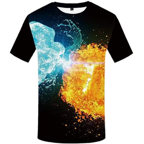 Yinyang T shirts Men Flame Tshirt Anime Aurora Tshirts Cool Water T shirts Funny Black Shirt Print Short Sleeve T shirts - KYKU