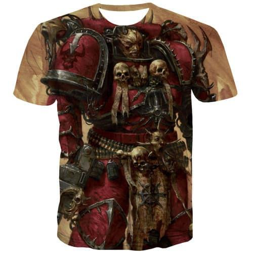 Skull T shirts Men Military Shirt Print Punk Rock Tshirts Cool Metal Tshirts Novelty Hip Hop T-shirts Graphic Short Sleeve - KYKU