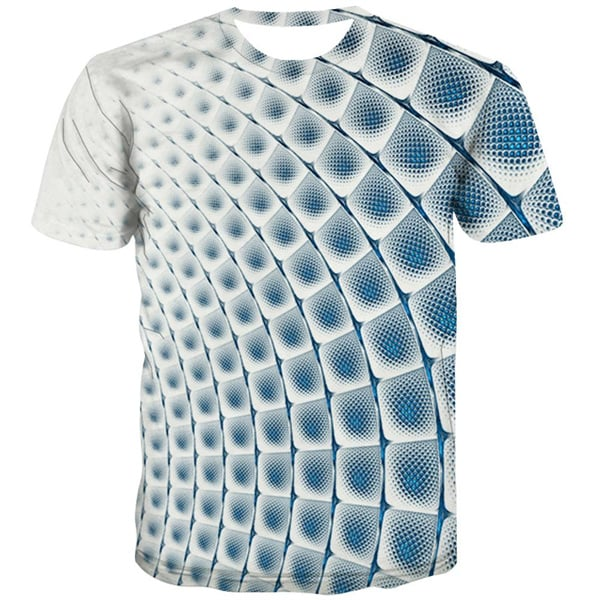 Square T-shirt Men Geometric Tshirts Casual Blue Tshirts Novelty Graphic T-shirts Graphic Casual T shirts Funny Short Sleeve - KYKU