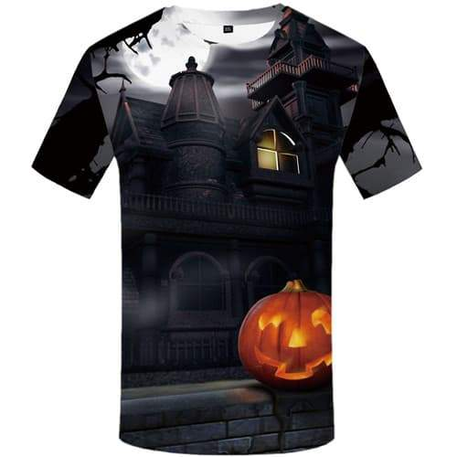 Halloween T shirts Men Pumpkin Tshirt Anime Moon Tshirts Casual Castle Shirt Print Harajuku T-shirts Graphic Short Sleeve - KYKU