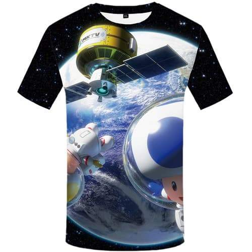 Galaxy Space T shirts Men Astronaut Tshirts Cool Earth T shirts Funny Cartoon T-shirts 3d Metal Tshirt Anime Short Sleeve