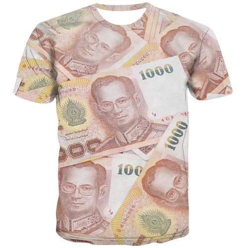 Thai Baht T shirts Men Money T shirts Funny Thailand T-shirts 3d Character Tshirts Casual Harajuku T-shirts Graphic Short Sleeve - KYKU