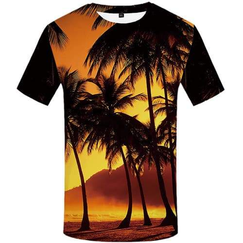Coconut Tree T-shirt Men Mountain T shirts Funny Beach Tshirt Printed Gothic Tshirts Casual Harajuku Tshirts Cool Short Sleeve